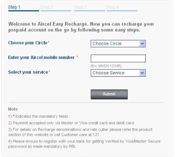 online recharge screenshot