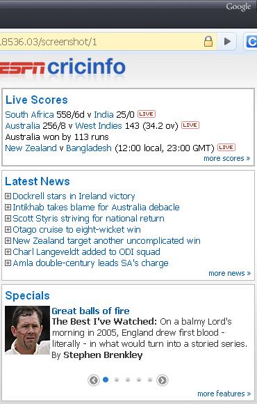 Live Cricket Scores Using Google Chrome Cricinfo Extension